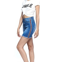 Stripe Trim Denim Blue Jean Mini Skirt