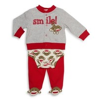 Baby Starters® 3-Piece Sock Monkey Take Me Home Set in Red/Grey