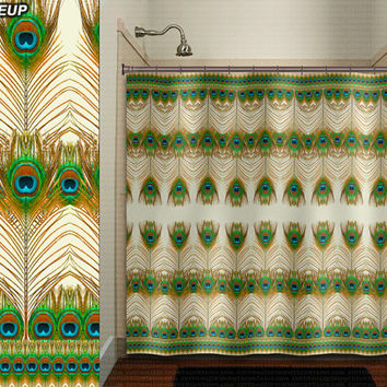 Bohemian Peacock Feather shower curtain bathroom decor fabric kids bath white black custom duvet cover rug mat window