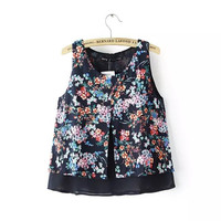 Women double layer floral chiffon crop tops vintage sleeveless blouses camisas femininas O neck shirts casual loose tops WT150