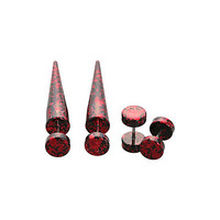 Red Metallic Splatter Faux Taper And Plug 4 Pack | Hot Topic