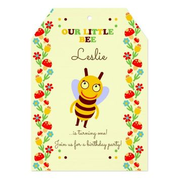 Our little baby bee first birthday party card