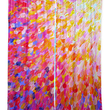 OCEAN Splash Pink Peach Orange Cream Art Window Curtains Multiple Size Abstract Painting Decor Bedroom Kitchen Lined Unlined Woven Fabric