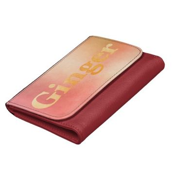 Ginger text - leather wallet