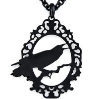 Black Raven Silhouette Necklace Edgar Alan Poe Pendant