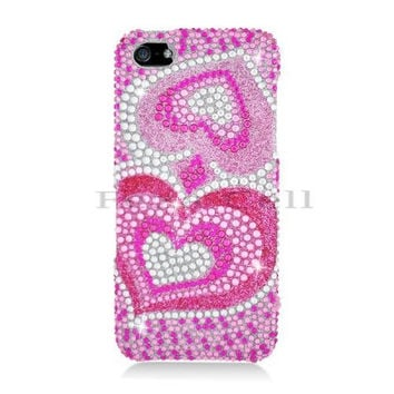 iPhone 5S/ 5 Full Diamond Pink Silver Heart Protective Case