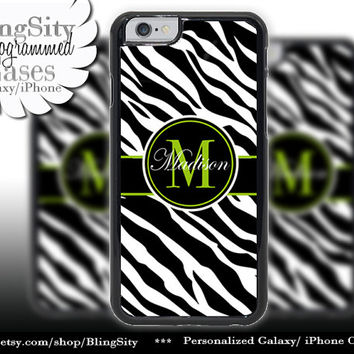 Monogram Black Zebra Print Iphone 6 case 6 Plus Lime Green Personalized Name Iphone 4 4s 5 5s 5c 6 6+ Ipod Touch Cover