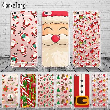 Merry Christmas Soft Santa Claus Design Cases For Iphone 7 7Plus 6 6S 5 5S SE Transparent Clear TPU Phone Cover Coque Fundas