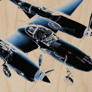 Airplane Turbo Prop Computer Animation Diagram - Plywood Wood Print Poster Wall Art