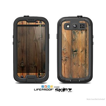 The Vertical Raw Aged Wood Planks Skin For The Samsung Galaxy S3 LifeProof Case