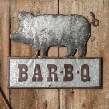 Rustic Pig Bar-B-Q Metal Wall Sign