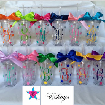 Cups-  Personalized Tumbler Cups with Straw and Initials
