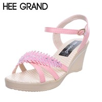 HEE GRAND Women Wedges Sandals Leaf Crystal Peep Toe Platform Sandals Trifle Summer Shoes Woman XWZ3822