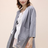 Easy to Be Chic Tassel Trimmed Cardigan in Grey - Retro, Indie and Unique Fashion