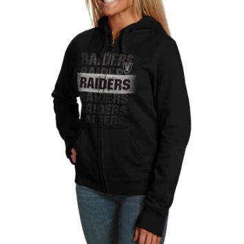 Oakland Raiders Ladies Football Classic IV Full Zip Hoodie Sweatshirt - Black