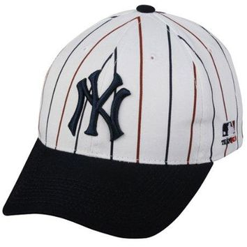 MLB Cooperstown YOUTH New York YANKEES Wht Pin Stripe Hat Cap Adjustable Velcro TWILL Throwback