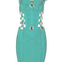 Green Studded Sexy Bodycon Bandage Dress