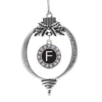 My Initials - Letter F Circle Charm Holiday Ornament
