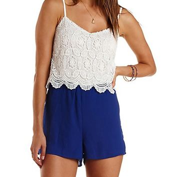 CROCHET & CHIFFON COLOR BLOCK ROMPER