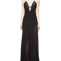 J. Mendel Floral-Embroidered Chiffon Negligee Gown