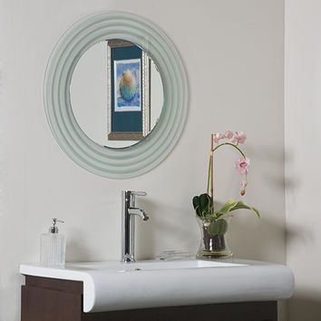 Decor Wonderland SSM9998 Isabella Round Beveled Frameless Bathroom Mirror