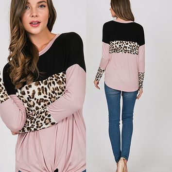 Dusty Pink Leopard Tie Top