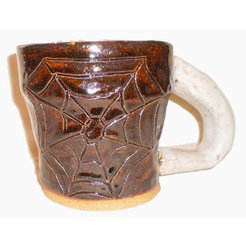 Spider Coffee Cup - Slab Mug With Spider at the bottom