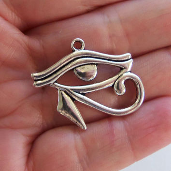 4 Eye of Horus charms, large eye of horus charm, egyptian charms, horus pendant, eye of rah, eye of ra, egyptian eye, egyptian jewelry - F42