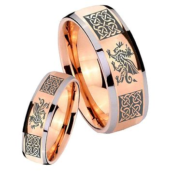 His Hers Rose Gold Dome Multiple Dragon Celtic Two Tone Tungsten Wedding Rings Set