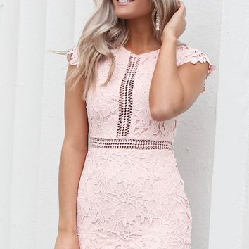 Playing Fair Blush Lace Dress