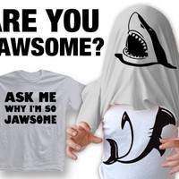 "New ""Ask Me Why I'm So Jawsome"" Unisex T-shirt With Tank Top Shark Body Under Shirt for Birthday, Party, Mens, Womens, Children,Youth XS-2xl"