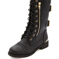 LACE-UP DOUBLE BUCKLE COMBAT BOOT