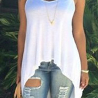 White Strappy Tank Top