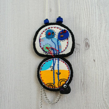 Statement necklace with hand painted pendant, fabric necklace, / double pendant necklace / fabric jewelry / polymer clay jewelry