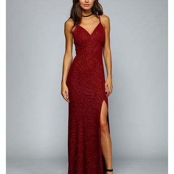 Reyanna Sparkle Slit Dress
