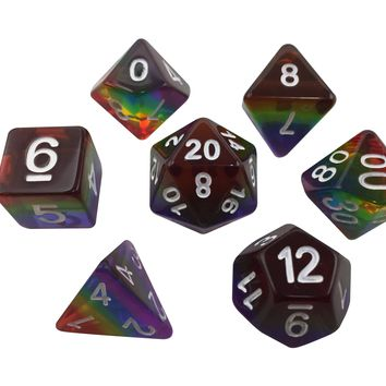 Rainbow - Set of 7  Rainbow Colored Translucent Polyhedral RPG Dice for Dungeons and Dragons