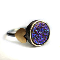Purple Drusy Sweetheart Ring- Indigo Purple Drusy Ring with Hearts