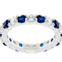 Elizabeth Sapphire Blue Eternity Stackable Ring | 4ct | Cubic Zirconia | Sterling Silver