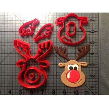 Custom Made 3D Printed Cookie Cutters Cartoon TV Character Rudolph the Reindeer Cookie Cutters set Cake Decorating Tools