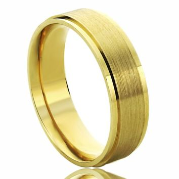 Custom Women's Men's 14K Solid Yellow/Rose/White Gold 6mm Promise Ring Wedding Band Brushed Dome Band - LI579-306