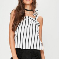 Missguided - White Striped Tie Strap Cami Top