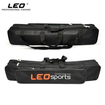 LEO High Quality Oxford Cloth Fishing Bag 70cm Double Layer Fishing Rod Bag with Side Zipper Bag for Fishing Accessories