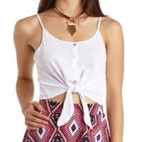 Tie-Front Button-Up Crop Top by Charlotte Russe