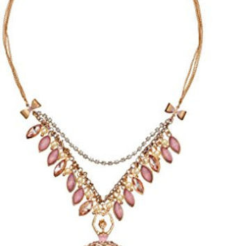 "Betsey Johnson ""Pinktina"" Ballerina and Shaky Faceted Bead Necklace, 16"""
