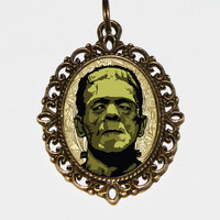 Frankenstein Necklace Oval Pendant