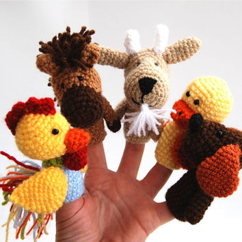 farm animal finger puppet set, crocheted dog, horse, duck, goat, cock, tiny amigurumi puppets