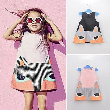 Girls Fox Dresses Lovely Kids Baby Girl Sleeveless Cartoon Renard Party Dress Vest Toddler Clothes 2-7Y