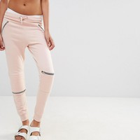 Missguided | Missguided Zip Biker Detail Joggers at ASOS