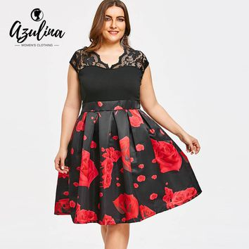 AZULINA High Waisted Plus Size Roses Dress Summer Women Vintage Lace Short Sleeve Elegant Party Dress Vestidos Ladies Dresses