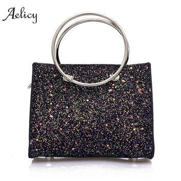 Aelicy 2Pcs Girls Women Retro Female Bling Sequins Crossbody Shoulder Bag Handbag 2018 new design Casual Women Bag 1277